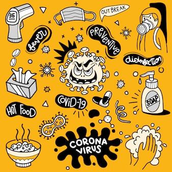 Illustration von doodle niedlich für covid-19, corona virus doodle element für infografik design