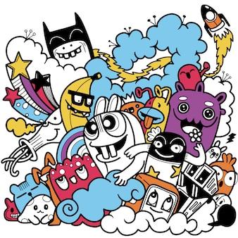 Illustration von doodle niedlichen monstern