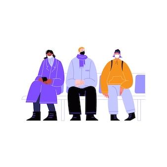 Illustration von drei charakteren verschiedener rassen, die auf öffentlichen verkehrsmitteln sitzen und gesichter mit masken bedecken