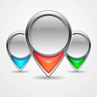 Illustration von drei farbigen navigationsmarkierungen mit schatten lokalisiert auf weiß