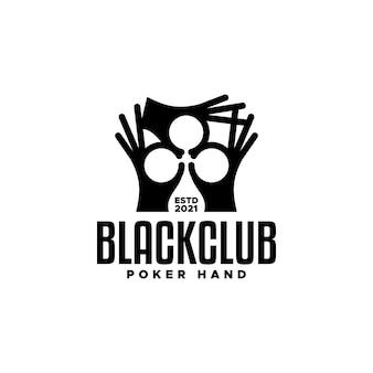 Illustration von drei händen, die ein keulenförmiges gut für jedes geschäft bilden, das mit einem pokerspiel zu tun hat