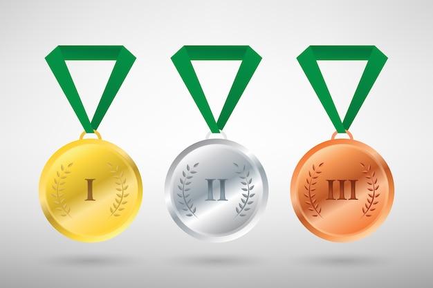 Illustration von drei siegern sport stil medaillen