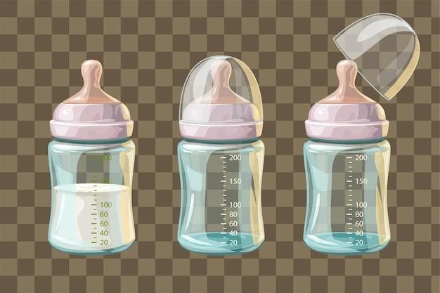 Illustration von drei transparenten babyflaschen im satz isoliert