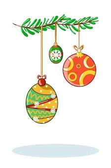 Illustration von drei weihnachtsballillustration