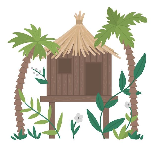 Illustration von dschungelschrei mit palmen und blättern isoliert. tropischer bungalow auf stelzenbild. nettes lustiges exotisches haus im regenwald.