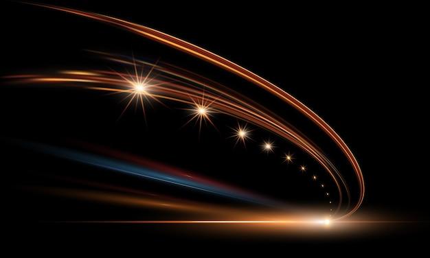 Illustration von dynamischen lichtern im dunkeln. hochgeschwindigkeitsstraße in der nachtabstraktion. stadtstraßenautolicht verfolgt bewegungshintergrund.