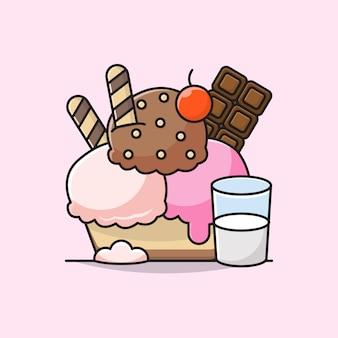 Illustration von eis mit schokoriegel, chocochips, waffeln, zapfen und milch.