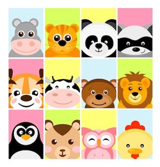Illustration von entzückenden niedlichen tierbabys auf farbhintergründen für fahne, flayer, plakat für kinder