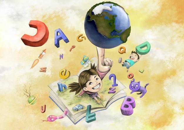 Illustration von erde, jungenmädchen und alphabet-tieren in einem buch