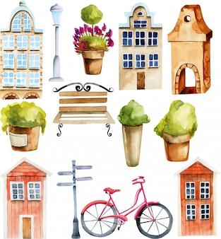 Illustration von europäischen und skandinavischen nordischen häusern und von straßengegenständen des aquarells