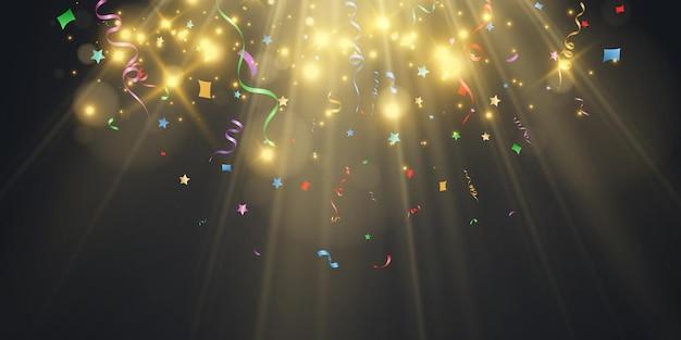 Illustration von fallendem konfetti auf transparentem