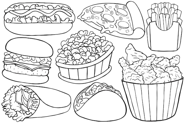 Illustration von fast-food-doodle im cartoon-stil