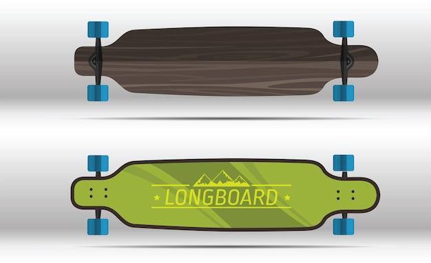 Illustration von flachen longboards lokalisiert