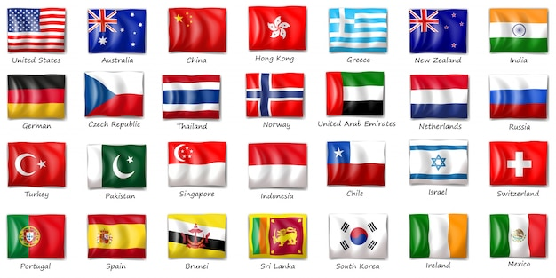 Illustration von flaggen aus verschiedenen ländern