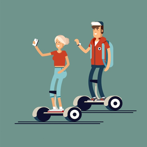 Illustration von frau und mann auf gyroscootern
