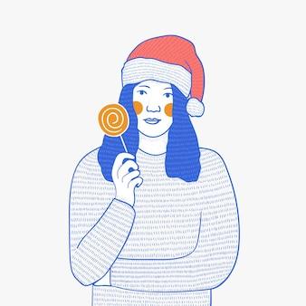 Illustration von frauen, die weihnachtssüßigkeiten halten