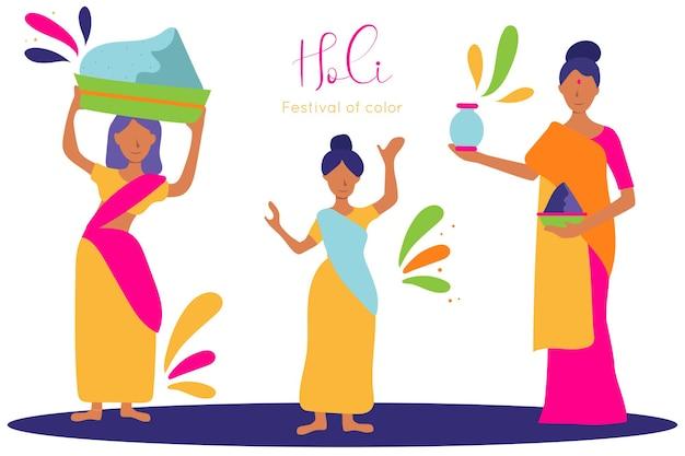 Illustration von frauen mit gulals, die das holi-fest der farbe feiern