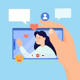 Illustration von freunden videoanruf am telefon