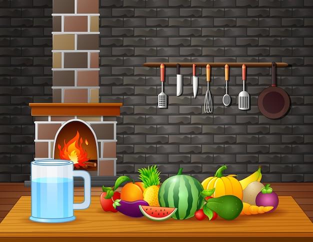 Illustration von frischen früchten auf tisch im raum