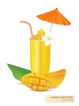 Illustration von frischen mangofrüchten und mangosaft isoliert realistisch