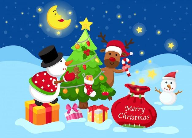 Illustration von frohen weihnachten auf einer winterlandschaft