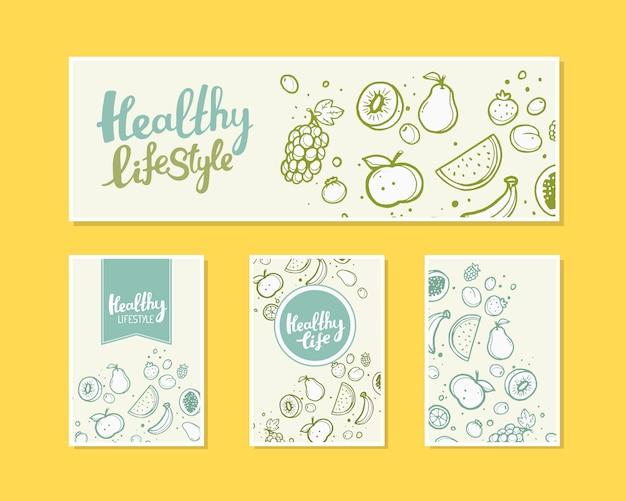 Illustration von früchten mit text auf hellem hintergrund.