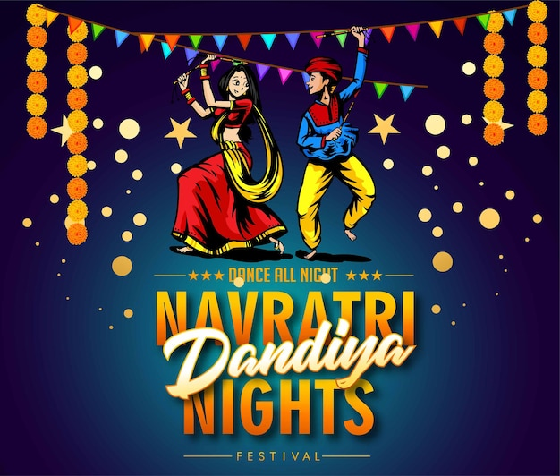 Illustration von garba festival disco posternavratri celebrationgujarati dandiya night poster