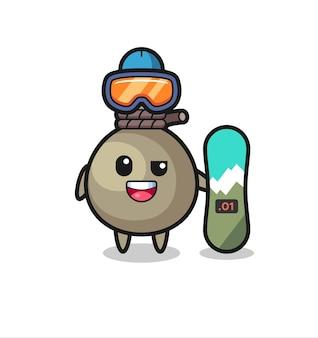 Illustration von geldsack-charakter mit snowboard-stil, süßem stildesign für t-shirt, aufkleber, logo-element