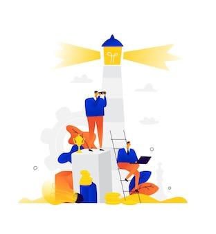 Illustration von geschäftsleuten am leuchtturm. die leute sitzen und arbeiten. mitarbeiter des unternehmens wohnen rund um den leuchtturm.