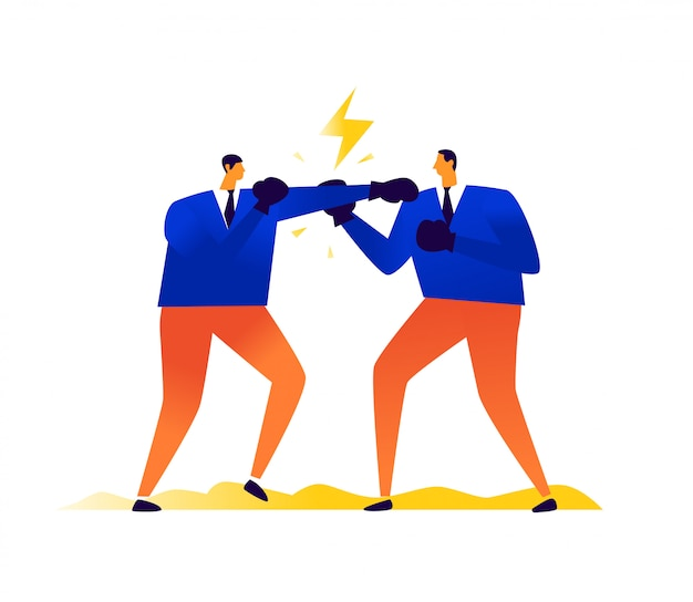 Illustration von geschäftsleuten, die einander boxen. wettbewerb in der wirtschaft. männer schlagen sich gegenseitig. konflikt, streit und streit unter menschen.
