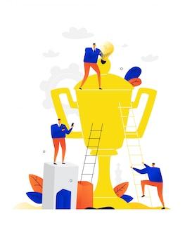 Illustration von geschäftsleuten, die einen goldenen becher reinigen. die leute suchen den sieg und gehen dorthin.