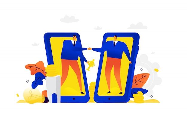 Illustration von geschäftsleuten, die gesund sind. ein mann und sein partner begrüßen sich vor dem hintergrund mobiler geräte.