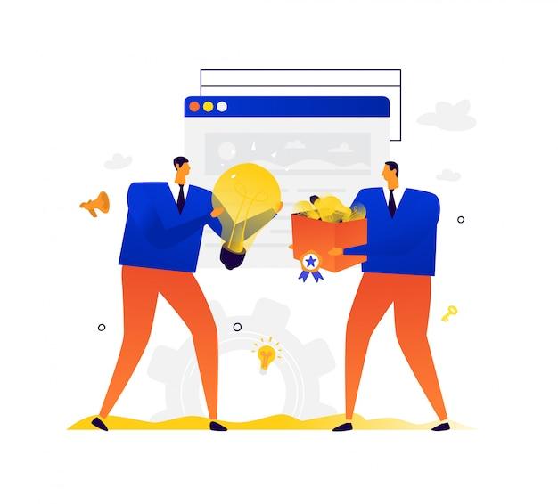 Illustration von geschäftsleuten, die ideen austauschen. metapher. kreative ideen kaufen und verkaufen.