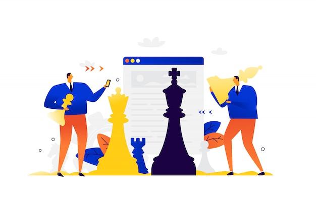 Illustration von geschäftsleuten, die schach spielen. wettbewerb in der wirtschaft. entwicklung von schnittstellen.