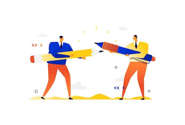 Illustration von geschäftsleuten mit großem briefpapier. streit und streit zwischen männern.