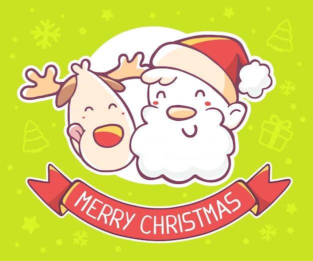 Illustration von gesichtern von weihnachtsmann und von ren mit rotem band