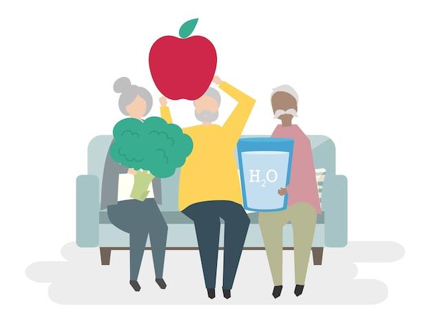 Illustration von gesunden senioren