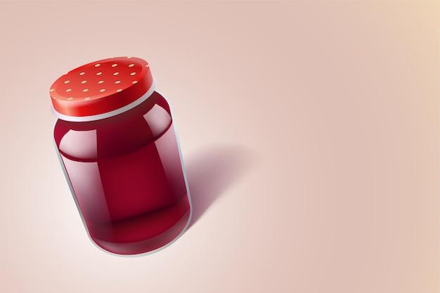 Illustration von glasnahrungsmittelglas mit roter flüssigkeit auf hellem hintergrund mit schatten