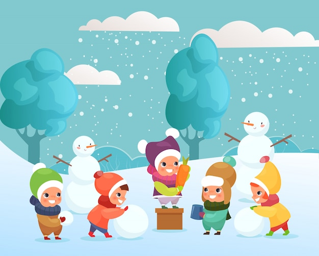 Illustration von glücklichen lustigen und niedlichen kindern, die mit schnee spielen und schneemann draußen machen. kinder spielen, winterferienkonzept im flachen karikaturstil.