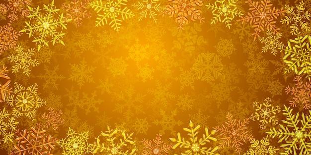 Illustration von großen komplexen durchscheinenden weihnachtsschneeflocken in gelben farben, herum gelegen, auf hintergrund mit fallendem schnee