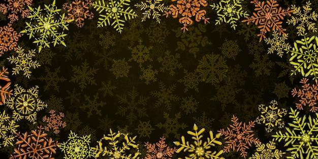 Illustration von großen komplexen durchscheinenden weihnachtsschneeflocken in gelben und braunen farben, herum gelegen, auf hintergrund mit fallendem schnee. transparenz nur im vektorformat