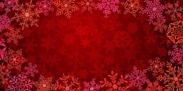 Illustration von großen komplexen durchscheinenden weihnachtsschneeflocken in roten farben, herum gelegen, auf hintergrund mit fallendem schnee