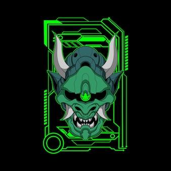 Illustration von grünem mecha oni