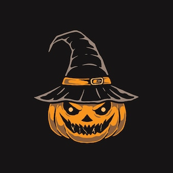 Illustration von gruseligem kürbis mit hexenhut