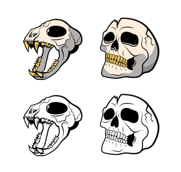 Illustration von gruseligen menschen- und tierschädeln. skelette auf einer weißen oberfläche.
