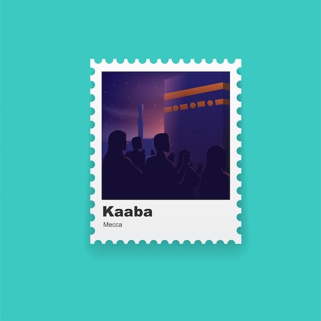 Illustration von hadsch-leuten in der kaaba-postkarte