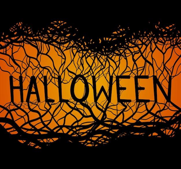 Illustration von halloween mit wurzeln und zweigen für ihre kreation