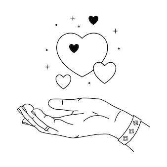 Illustration von hand- und liebesmagie. strichzeichnungen stil.
