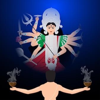 Illustration von happy durga puja subh navrtri subho bijoya mit mann, der dhunuchi-tanz aufführt