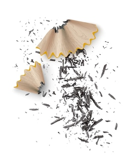 Illustration von hölzernen graphitstiftspänen vom spitzer